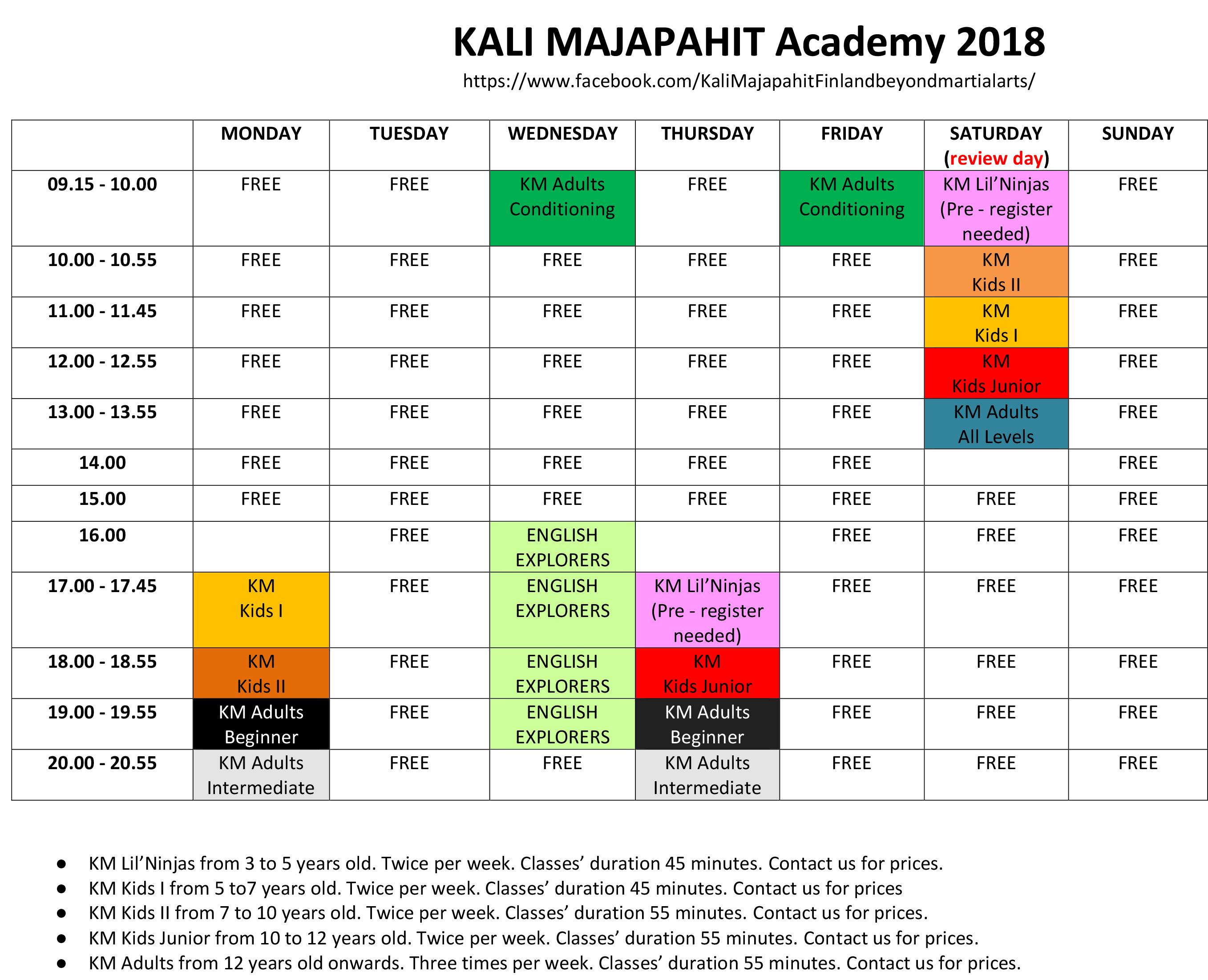 KM-schedule